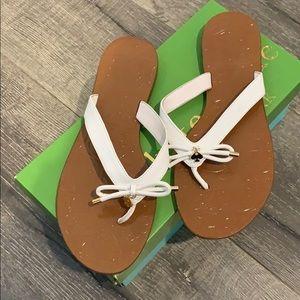 """NWOT Kate Spade """"Charles"""" flip flops (white brown)"""